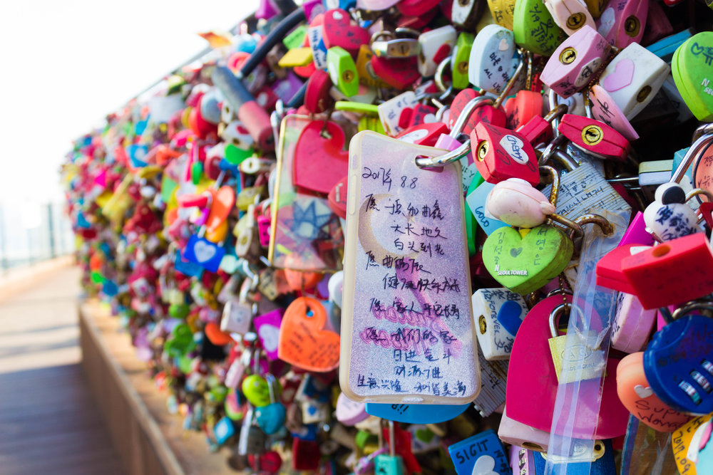 Colorful locks hang at Seoul tower
